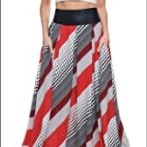 tov los angeles dotted red maxi skirt Sz 38